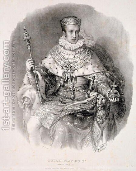 Ferdinand I 1793-1875, King of Lombardy-Venetia, in State Robes, from Incoronazione de SMIRA Ferdinando I, il Re del Regno Lombard-Veneto, published 1838 by Alessandro Sanquirico - Reproduction Oil Painting
