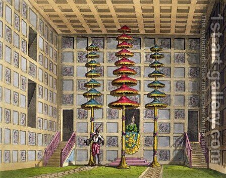 Audience Hall, Cochin China, plate 88 from Le Costume Ancien et Moderne by Jules Ferrario, engraved by Gaetano Zancon 1771-1816 published c.1820s-30s by Alessandro Sanquirico - Reproduction Oil Painting
