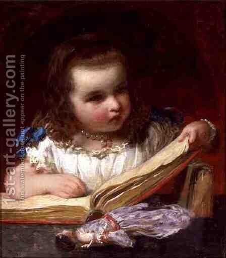 A Girl Reading by James Sant - Reproduction Oil Painting