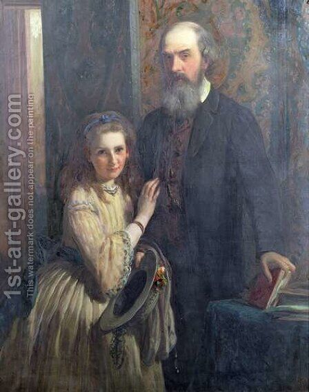 Sir William FitzHerbert with his daughter, Ida, 1862 by James Sant - Reproduction Oil Painting