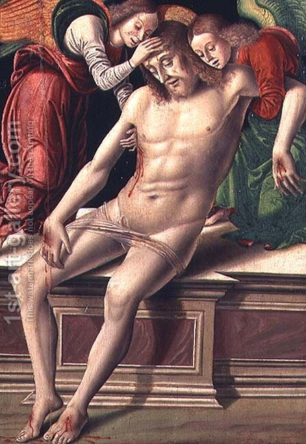 Dead Christ supported by two angels by Giovanni Santi or Sanzio - Reproduction Oil Painting