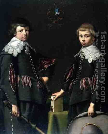 Two Young Boys by Dirck Dircksz. Santvoort - Reproduction Oil Painting