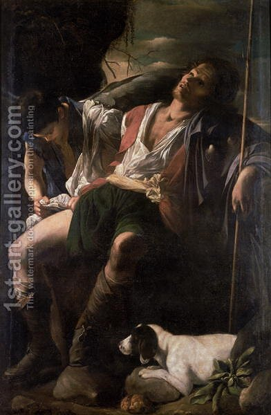 St. Roch Nursed by the Angel by Carlo Saraceni - Reproduction Oil Painting