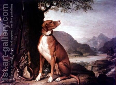 G. M. Johnstons favourite gun dog in a landscape by J. Francis Sartorius - Reproduction Oil Painting
