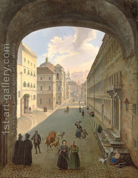 Palais Lodron, Salzburg, 1833 by Hubert Sattler - Reproduction Oil Painting