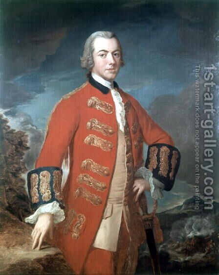 Captain Henry Clinton 1730-1795 First Regment of Foot Guards, c.1758 by (attr. to) Saunders, M.L - Reproduction Oil Painting