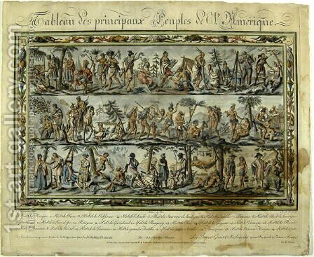 Table depicting the people of America, 1798 by (after) Sauveur, J.G. - Reproduction Oil Painting