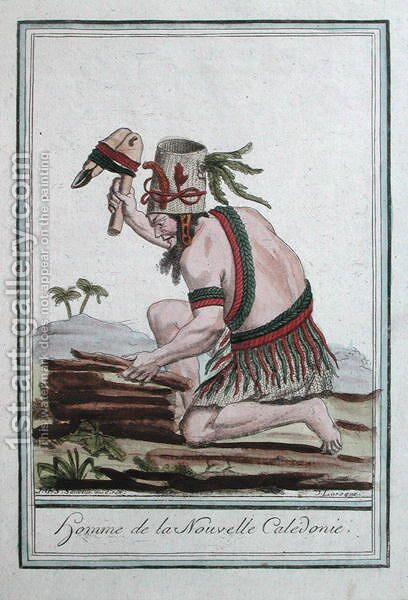 Native of New Caledonia, engraved by J. Laroque, 1796 by (after) Sauveur, J.G. - Reproduction Oil Painting