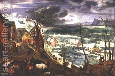 A Village in Winter by Jacob I Savery - Reproduction Oil Painting