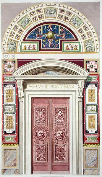 Doorway to the Raphael Loggia at the Vatican, from Delle Loggie di Rafaele nel Vaticano, engraved by Giovanni Ottaviani c.1735-1808, published c.1772-77 by (after) Savorelli, G. and Camporesi, P. - Reproduction Oil Painting