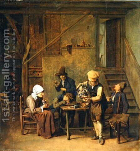 Peasants in an interior by Cornelis Schaeck - Reproduction Oil Painting