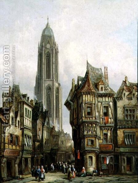 German Street Scene and Church Tower by Henry Schafter - Reproduction Oil Painting