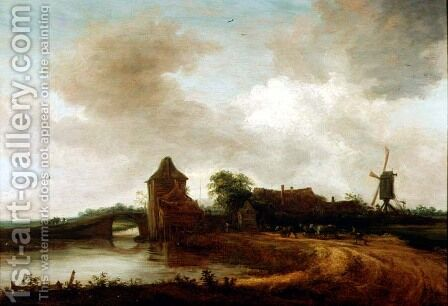 A River Landscape by Cornelis Symonsz van der Schalcke - Reproduction Oil Painting