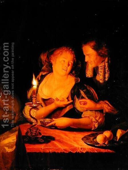 A Gentleman Offering a Lady a Ring by Godfried Schalcken - Reproduction Oil Painting