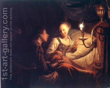A Candlelight Scene A Man Offering a Gold Chain and Coins to a Girl Seated on a Bed, c.1665-70 by Godfried Schalcken - Reproduction Oil Painting