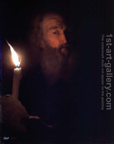 Man with a Candle by Godfried Schalcken - Reproduction Oil Painting