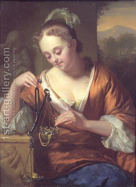 Allegory of Virtues and Riches, c.1667 by Godfried Schalcken - Reproduction Oil Painting