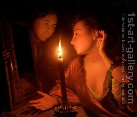 A Lady Admiring An Earring by Candlelight by Godfried Schalcken - Reproduction Oil Painting