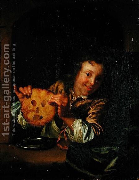 Boy with Pancakes by Godfried Schalcken - Reproduction Oil Painting