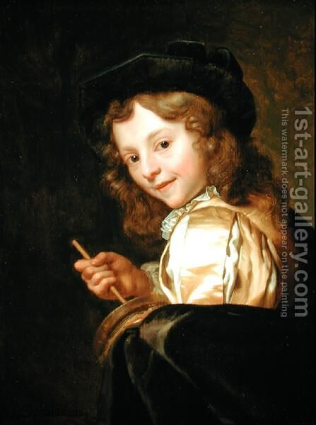 Portrait of a Boy Playing Rommelpot by Godfried Schalcken - Reproduction Oil Painting