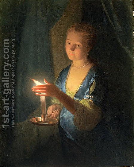A Lady holding a Candle by Godfried Schalcken - Reproduction Oil Painting