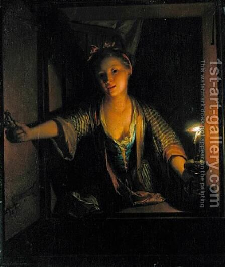 A Girl at the Window by Godfried Schalcken - Reproduction Oil Painting