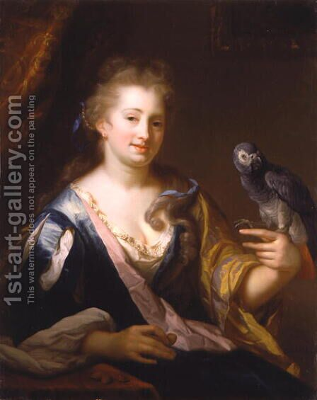 Portrait of a Lady feeding a parrot by Godfried Schalcken - Reproduction Oil Painting