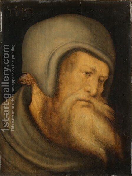 Head of a Bearded Man Apostle, 1511 by Hans the Younger Schaufelein - Reproduction Oil Painting