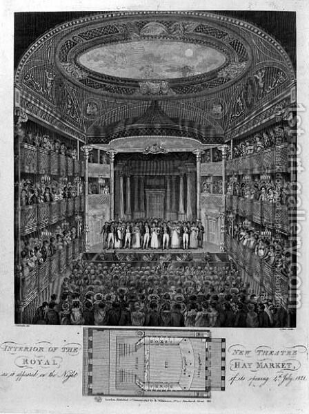 Interior of the New Theatre Royal, Haymarket, as it Appeared on the Night of its Opening, 4th July 1821, engraved by James Stow c.1770-p.1823, 1823 by (after) Schebbellie - Reproduction Oil Painting