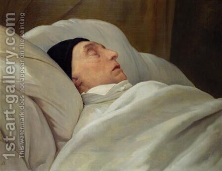 Marie Joseph 1757-1834 Marquise de La Fayette, on his Deathbed by Ary Scheffer - Reproduction Oil Painting