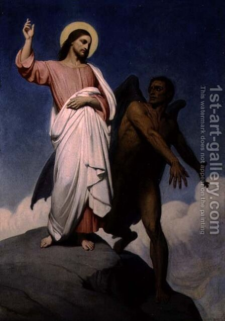 The Temptation of Christ, 1854 by Ary Scheffer - Reproduction Oil Painting