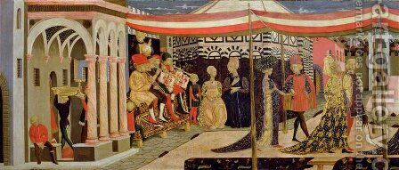 Frontal of the Adimari Cassone, detail of the left-hand section, c.1450 by Giovanni di ser Giovanni Guidi (see Scheggia) - Reproduction Oil Painting