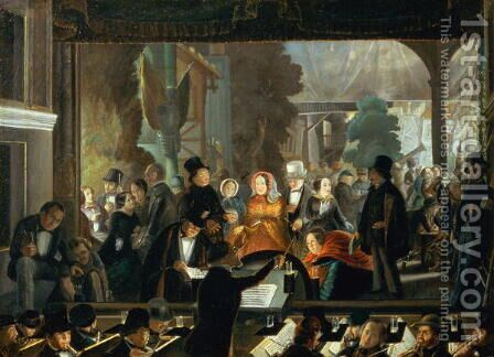 The Evening Performance by Andreas Schimpf - Reproduction Oil Painting