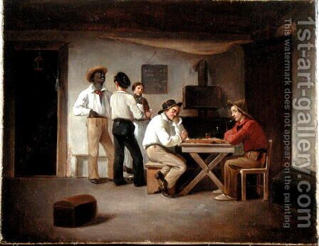 Sailors Playing a Board Game in a Tavern by Christian Andreas Schleisner - Reproduction Oil Painting