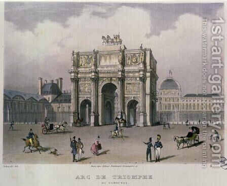 The Arc de Triomphe du Carrousel, Paris, 1832 by (after) Schmidt, Bernhard - Reproduction Oil Painting