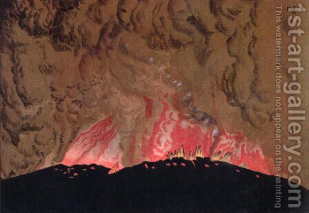 The Aphroessa and Georgios lava flows during an eruption of the Santorini volcano, illustration from Etudes sur les Volcans by the artist, engraved by Druck and Arnold, 1881 by (after) Schmidt, Julius or Jules - Reproduction Oil Painting