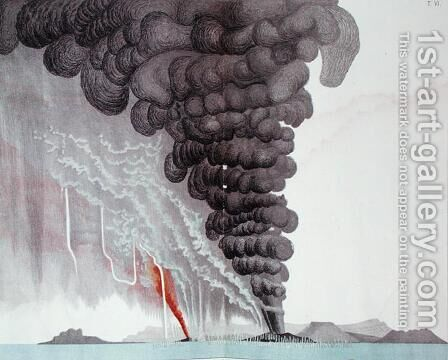 The eruption of the Santorini volcano, illustration from Etudes sur les Volcans by the artist, engraved by Druck and Arnold, 1881 by (after) Schmidt, Julius or Jules - Reproduction Oil Painting