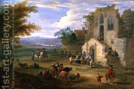Villagers Conversing by a Ruined Church by Mathys Schoevaerdts - Reproduction Oil Painting