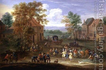 Festival in a Country Village by Mathys Schoevaerdts - Reproduction Oil Painting