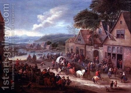 A Village Fair by Mathys Schoevaerdts - Reproduction Oil Painting