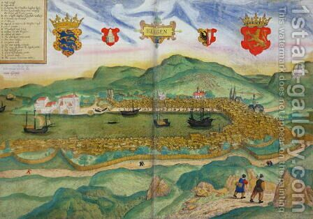Map of Bergen, from Civitates Orbis Terrarum by Georg Brau 1541-1622 and Franz Hogenberg 1535-90 c.1571-1600 by Hieronymous Scholeus - Reproduction Oil Painting