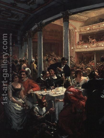 A Masked Ball in a Theatre by Alois Schonn - Reproduction Oil Painting