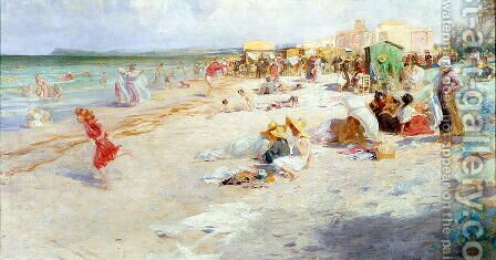 A Busy Beach in Summer by Alois Hans Schram - Reproduction Oil Painting
