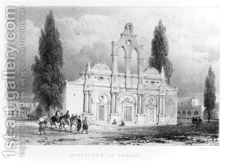 Monastery of Arkadhi, Crete, from Travels in Crete by Pashley, engraved by Louis Haghe 1806-85 1837 by (after) Schranz, Anton - Reproduction Oil Painting