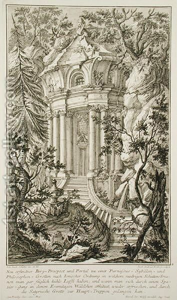 Temple in a garden, engraved by Jacob Andreas Fridrich 1714-79 by (after) Schubler, Johann Jacob - Reproduction Oil Painting