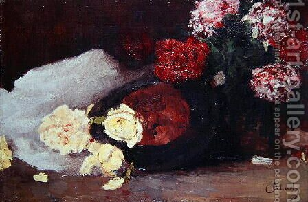 Still Life with Tea Roses, c.1885 by Carl Schuch - Reproduction Oil Painting