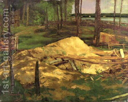 Sawdust Pit, 1876 by Carl Schuch - Reproduction Oil Painting