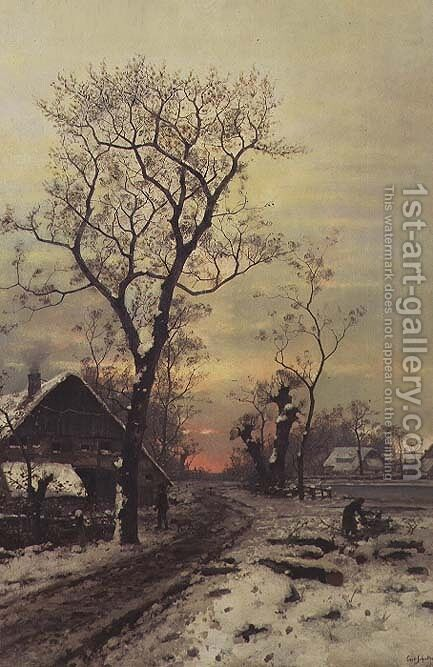 Returning home on a winter night by Carl Schultze - Reproduction Oil Painting