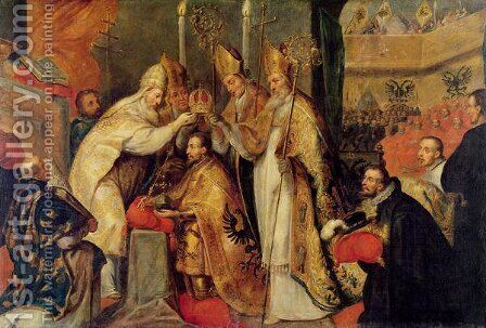 The Coronation of Charles V 1500-58 Holy Roman Emperor by Cornelius I Schut - Reproduction Oil Painting