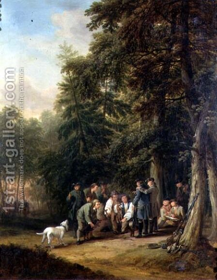 The Kill at a Foxhunt Attended by an Artist Sketching, 1770 by and Kraus, G.M. Schutz, C.G. the Elder - Reproduction Oil Painting